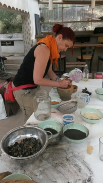 Grinding pigments for my artwork
